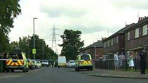 Cordoned off road in Clayton