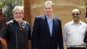 Brazil's Luiz Inacio Lula da Silva, the UK's Tony Blair and Ethiopia's Meles Zenawi in South Africa on 12 February 2006