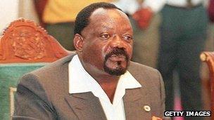 1996 photo of former Angolan UNITA rebel leader Jonas Savimbi