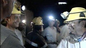 Still from video - the miners underground