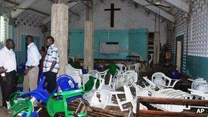 A damaged church in Mombasa (27 August 2012)