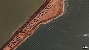 Activists during a June protest against the Belo Monte dam