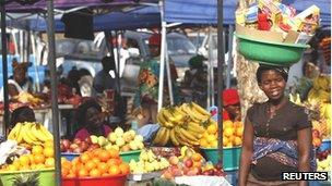 Market stalls in Luanda, Angola