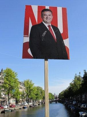 A campaign poster of Socialist Party leader Emile Roemer on display in Amsterdam
