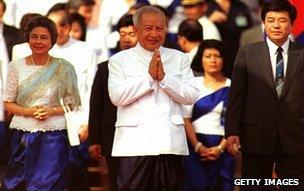 Norodom Sihanouk in royal palace, Phnom Penh, 1993