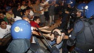 Demonstrators clash with riot police in Lisbon. Photo: 15 September 2012