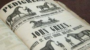 A 19th century poster with images of horses