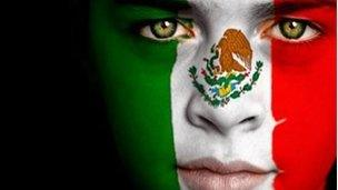 Face painted in Mexico's national flag colours posted on hacked websites
