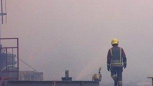 Firefighter at the fire in Derbyshire