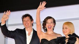Paul W S Anderson, Milla Jovovich and Mika Nakashima