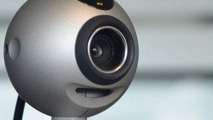 A webcam on a computer
