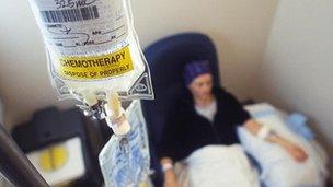 Claf yn derbyn triniaeth cemotherapi