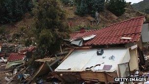 House damaged by 2010 tsunami and earthquake in Juan Fernandez Islands