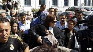 Demonstration outside courthouse in Tunis, 2 Oct 12