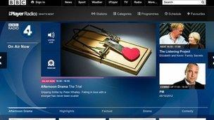 Screenshot of new BBC radio page