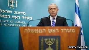 Benjamin Netanyahu talking on Israeli television on Tuesday 9 October
