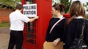 School girls outside polling station