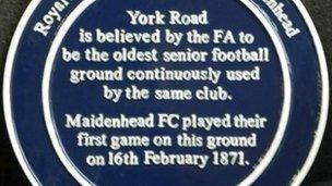 The plaque at York Road