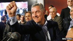 Ruling coalition leader Milo Djukanovic celebrates in Podgorica. Photo: 14 October 2012