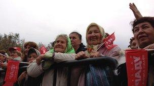 Klitschko supporters at a rally in Lubny
