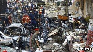 Scene of car-bomb blast in east Beirut, 19 October
