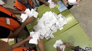 Electoral officials count ballots in the West Bank (21 October 2012)
