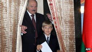Alexander Lukashenko and son Kolya