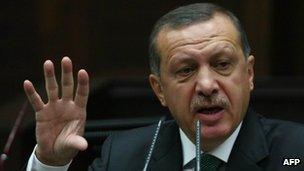 Turkish Prime Minister Recep Tayyip Erdogan in parliament in October 2012