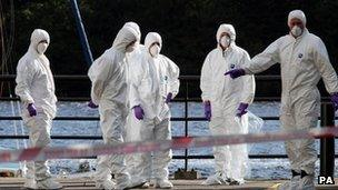 Forensic officers in Derry