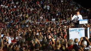 Mitt Romney at a rally in Florida on 27 Oct