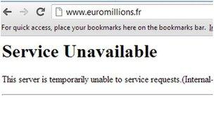 The error message displayed after the hacking of the euromillions.fr site