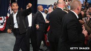 President Barack Obama in Springfield, Ohio, on 2 November 2012
