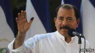 Daniel Ortega after voting in Sunday's elections