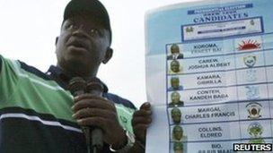 """Julius Maada Bio, presidential candidate for the Sierra Leone People""""s Party (SLPP), addresses his supporters during an election rally in the town of Moyamba in the southern province of Sierra Leone November 11, 2012."""