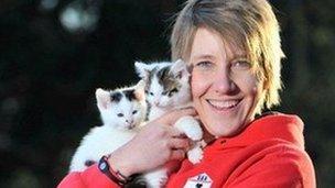 Natasha Woest with kittens