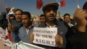 Bahraini workers demanding reinstatement in February 2012