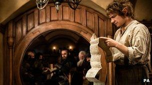 Martin Freeman (right) in a scene from The Hobbit: An Unexpected Journey