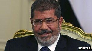 Egyptian President Mohammed Mursi (file photo, July 2012)