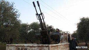 Anti-aircraft machine gun in Taftanaz near Idlib province