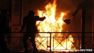 Firebomb at anti-austerity riot in Greece