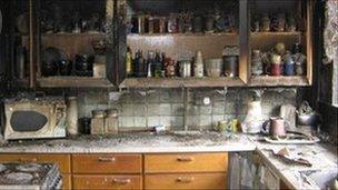 Michelle Woolwich's burnt out kitchen