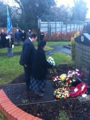The family of Ruth Dixon lay a wreath at the memorial to those killed in the Droppin' Well bombing