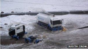 Lorries in Wick Harbour