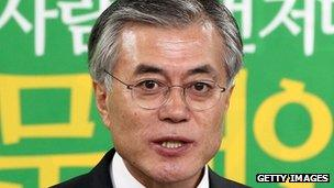 Democratic United Party (DUP) candidate Moon Jae-In