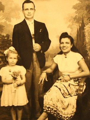 Kris Griffiths' grandparents and mother in the late 1950s