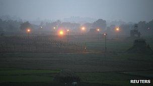 Indian security posts are seen along the border between India and Pakistan in Suchetgarh, southwest of Jammu, January 6, 2013.