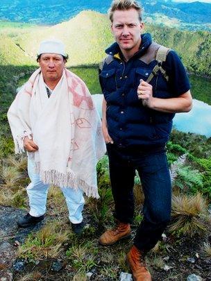 Dr Jago Cooper with Muisca guardian Enrique Gonzalez at Lake Guatavita