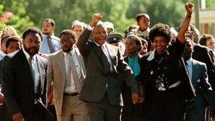 Nelson Mandela gyda Winne Mandela