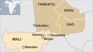 Map showing Mali