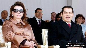 File photo: Former Tunisian President Zain al-Abedine Ben Ali and his wife Leila
